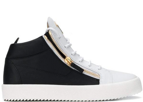 GIUSEPPE ZANOTI Side Zipped Sneakers, Black/ White-OZNICO