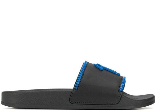 GIUSEPPE ZANOTTI Birel Zip Slides, Black/ Royal-OZNICO