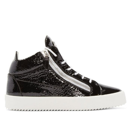 GIUSEPPE ZANOTTI Black Patent London Mid-Top Sneakers-OZNICO