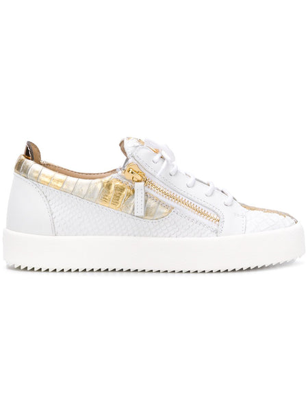 GIUSEPPE ZANOTTI Gail Metallic Low Top Women's Sneaker, White/ Gold-OZNICO