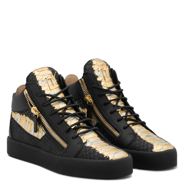 GIUSEPPE ZANOTTI Kriss Metallic High Top Sneaker, Black/ Gold-OZNICO