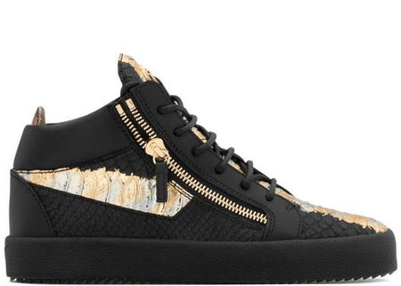 GIUSEPPE ZANOTTI Kriss Metallic High Top Sneaker, Black/ Red