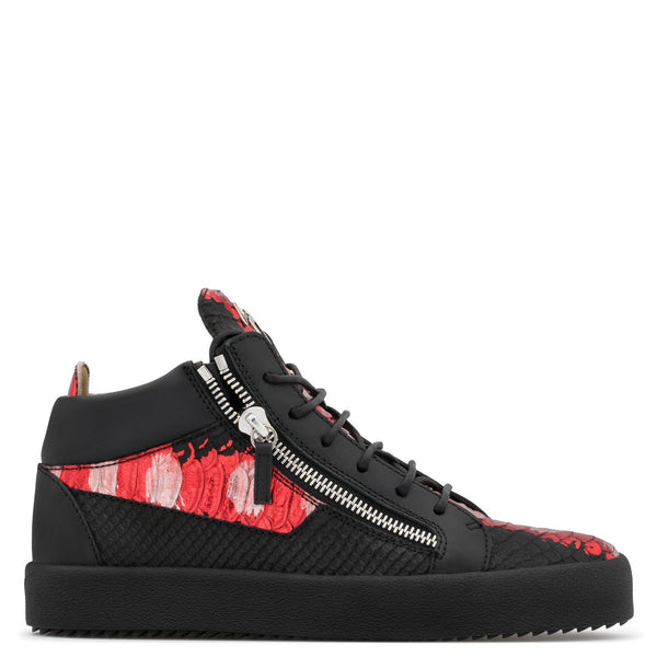 GIUSEPPE ZANOTTI Kriss Metallic High Top Sneaker, Black/ Red-OZNICO