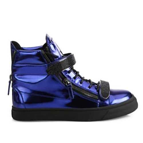 GIUSEPPE ZANOTTI Women's Metallic Double Bar High-Top Sneakers-OZNICO