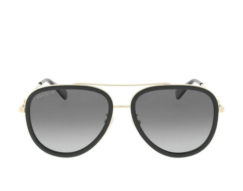 GUCCI Aviator Shaped Metal Sunglasses, Gold/ Black-OZNICO