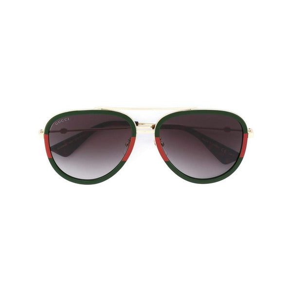 GUCCI Aviator Shaped Metal Sunglasses, Green/ Red-OZNICO