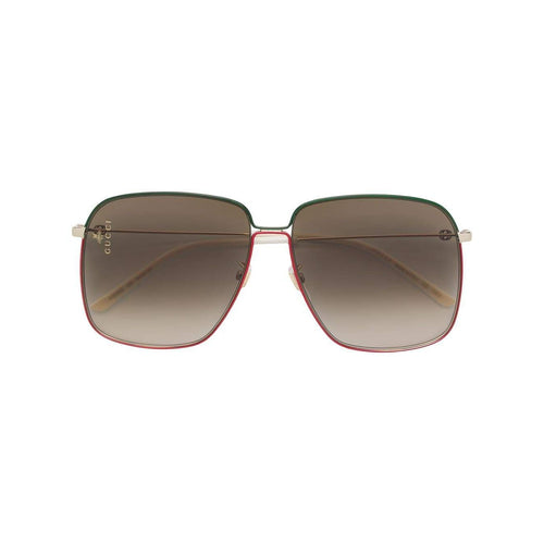 GUCCI Large Square Metal Sunglasses, Gold Metal/ Green/ Red-OZNICO