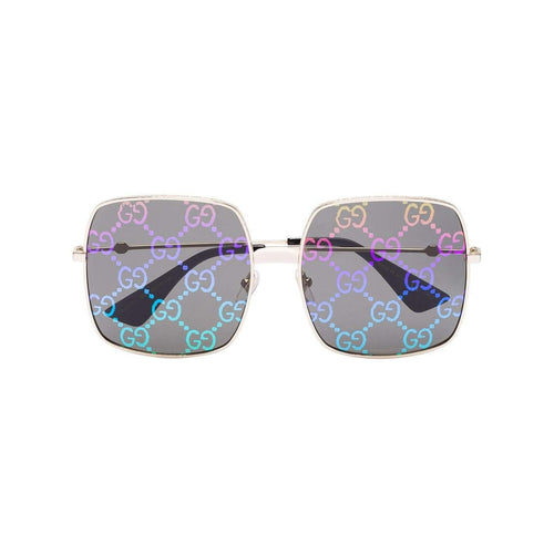 GUCCI Logo Rectangular Metal Frame Sunglasses, Gold Tone/ Multi-OZNICO
