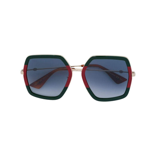 GUCCI Oversized Metal Sunglasses, Green/ Red-OZNICO