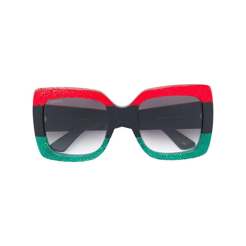 GUCCI Oversized Sunglasses, Black/ Green/ Red-OZNICO
