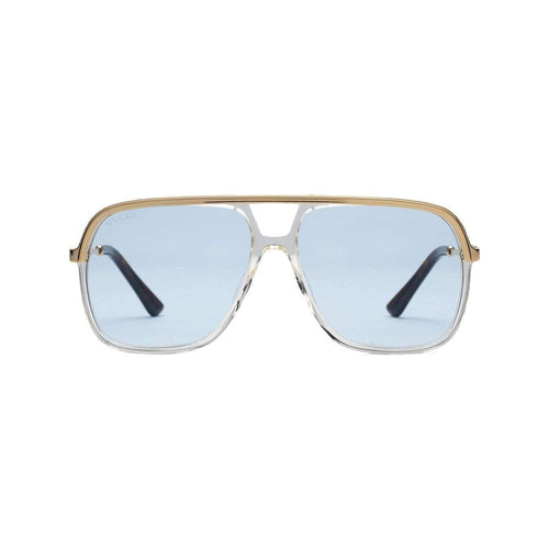 GUCCI Rectangular-Frame Metal Sunglasses, Yellow Metal Frame-OZNICO