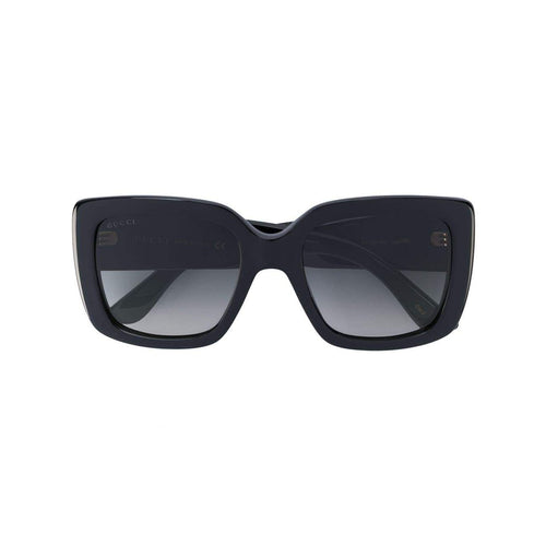 GUCCI Square Frame Sunglasses, Black-OZNICO