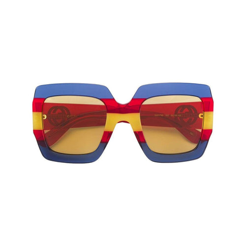 GUCCI Square Frame Sunglasses, Blue/ Red-OZNICO