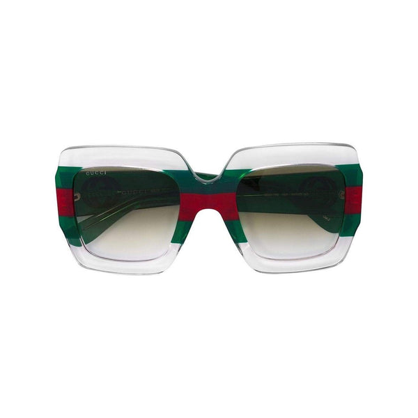 GUCCI Square Frame Sunglasses, Green/ Red-OZNICO