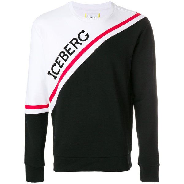 ICEBERG Color-Block Logo Sweatshirt, Black-OZNICO
