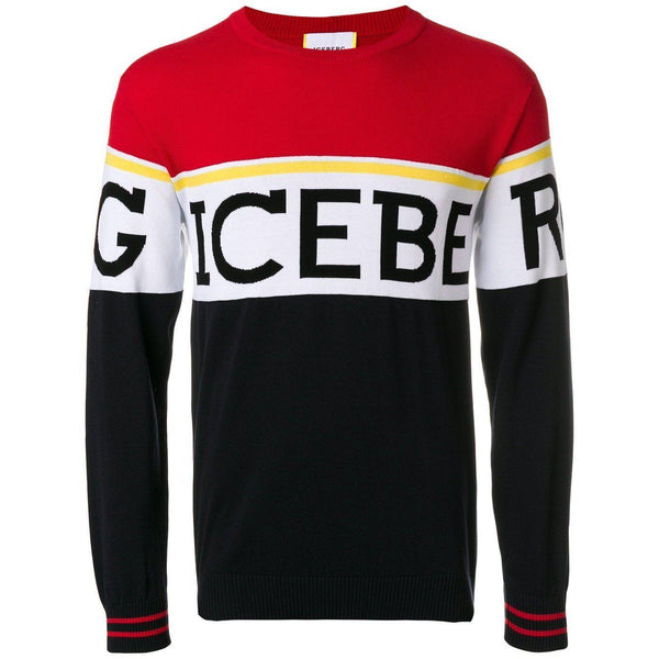 ICEBERG Logo Knit Crewneck Sweater, Multicolor-OZNICO