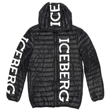 ICEBERG Reversible Short Down Bomber Jacket, Black/ Multi