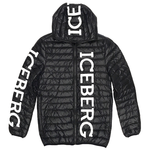 ICEBERG Reversible Logo Down Jacket, Black/ Blue-OZNICO