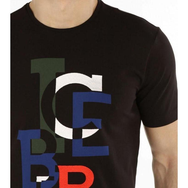 ICEBERG T-Shirt With Deconstructed Maxi-logo, Black-OZNICO