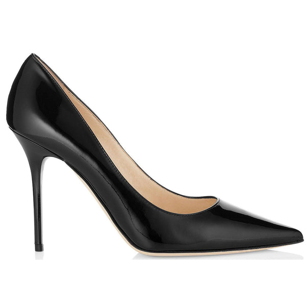 JIMMY CHOO Abel Patent Leather Pointy Toe Pumps, Black-OZNICO