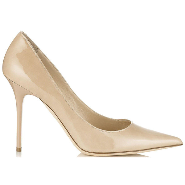 JIMMY CHOO Abel Patent Leather Pointy Toe Pumps, Nude-OZNICO