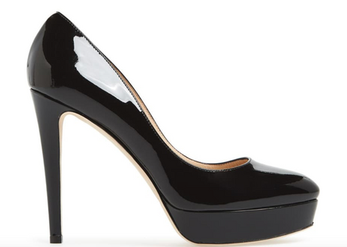 JIMMY CHOO Alex Patent Leather Platform Pump, Black-OZNICO