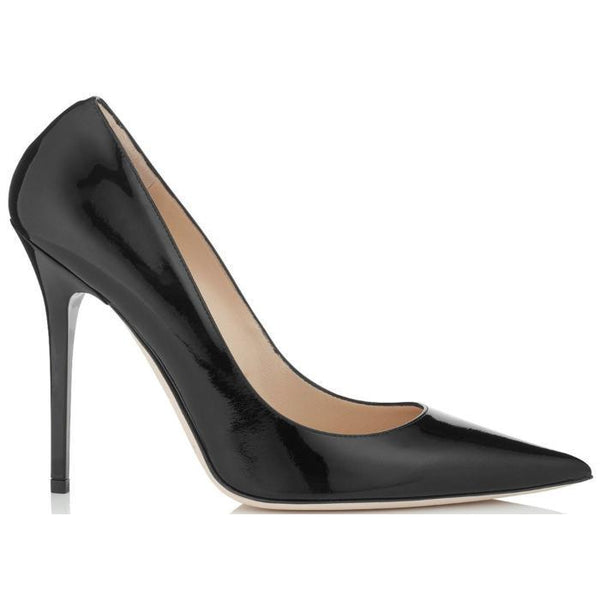 JIMMY CHOO Anouk Patent Leather Pointy Toe Pumps, Black-OZNICO