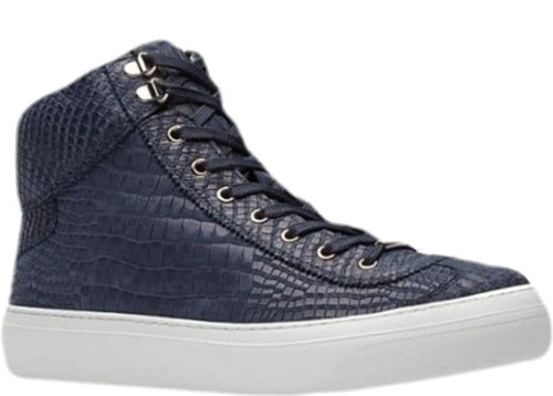 JIMMY CHOO Argyle Croc Print Nubuck High Top Trainer, Navy Blue-OZNICO