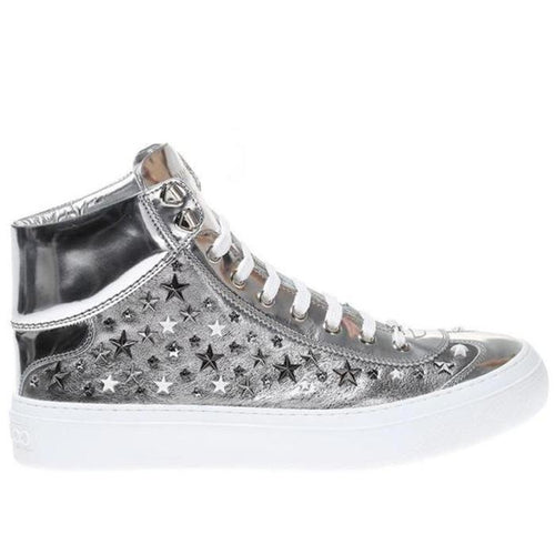JIMMY CHOO Argyle High Top Sneakers, Silver-OZNICO