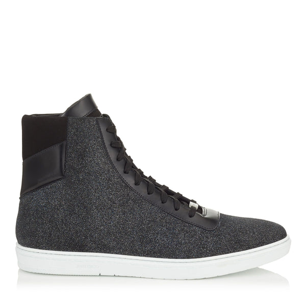 JIMMY CHOO Bruno High Top Glitter Dust Leather Trainer, Smoky Blue-OZNICO