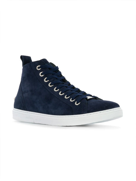 JIMMY CHOO Colt High Top Trainer, Suede Navy-OZNICO
