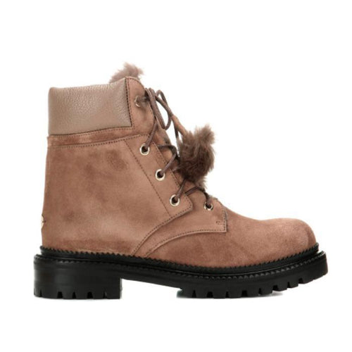 JIMMY CHOO Elba Suede and Rabbit-Fur Ankle Boots, Light Mocha-OZNICO