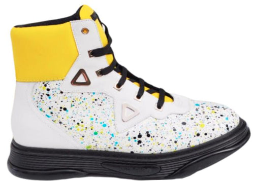 JIMMY CHOO Galaxy Paint-Splatter Leather High-Top Sneaker, White-OZNICO