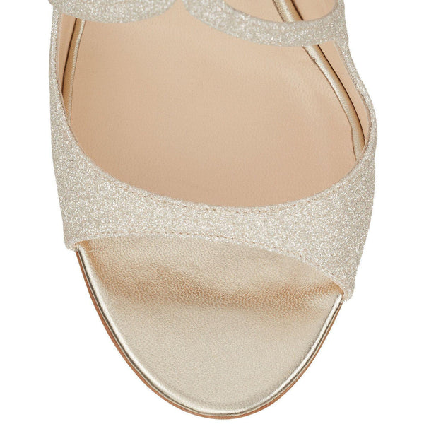 JIMMY CHOO Lang Dusty Glitter Sandal, Platinum Ice-OZNICO