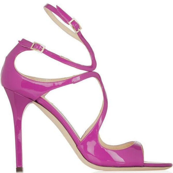 JIMMY CHOO Lang Patent Leather Sandal, Jazzberry-OZNICO