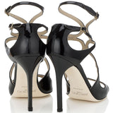 JIMMY CHOO Lang Patent Strappy Sandals, Black-OZNICO