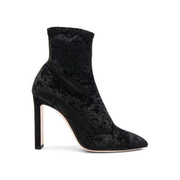 JIMMY CHOO Louella 100 Ankle Boot, Black Crushed Stretch Velvet-OZNICO