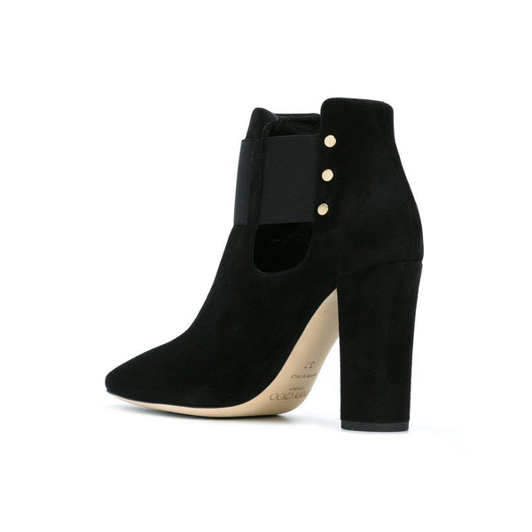 JIMMY CHOO Mercy 95 Suede Ankle Boot, Black-OZNICO
