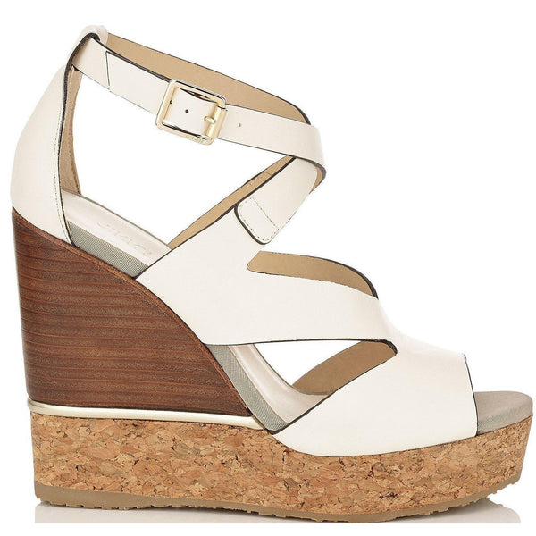 6a978800e0 JIMMY CHOO Nate 120 Leather Cork Wedges, Latte Mix-OZNICO ...