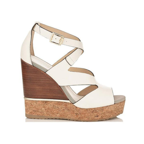 JIMMY CHOO Nate 120 Leather Cork Wedges, Latte Mix-OZNICO