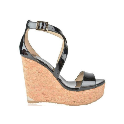 JIMMY CHOO Portia 120 Wedge Sandals, Black-OZNICO