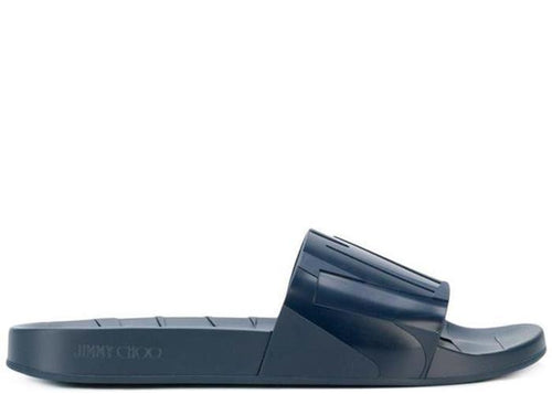 JIMMY CHOO Rey Slides, Navy-OZNICO