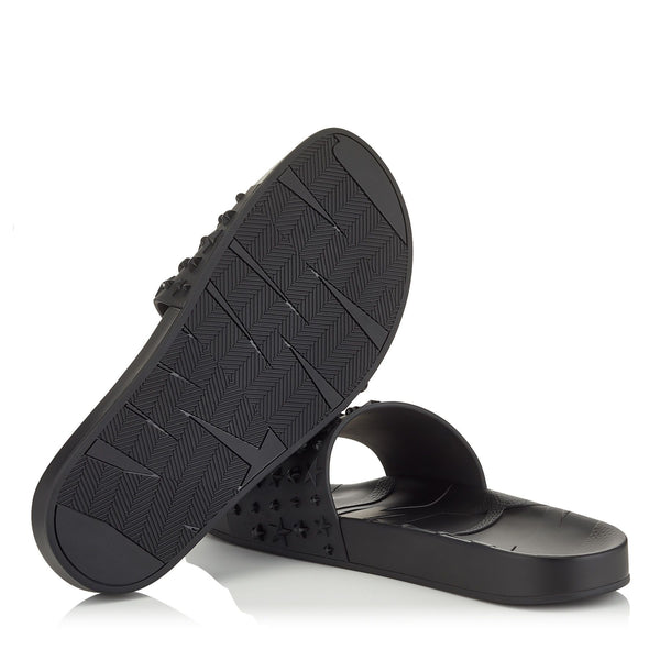JIMMY CHOO Rey Star Embossed Rubber Slides, Black-OZNICO