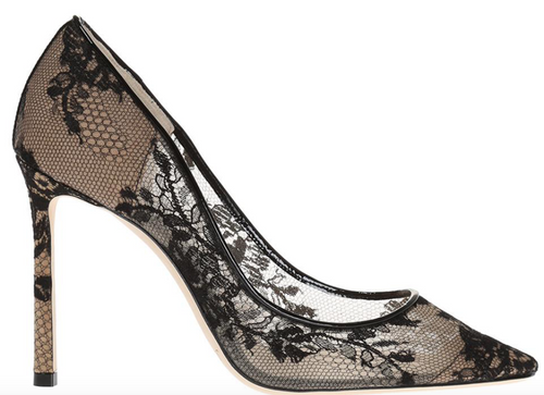 JIMMY CHOO Romy 100 Lace Pump, Black-OZNICO