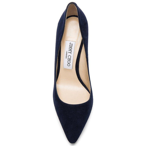 JIMMY CHOO Romy 100 Suede Pumps, Navy-OZNICO