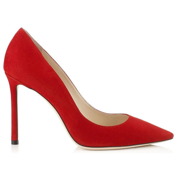 6948925821b JIMMY CHOO Romy 100 Suede Pumps, Red