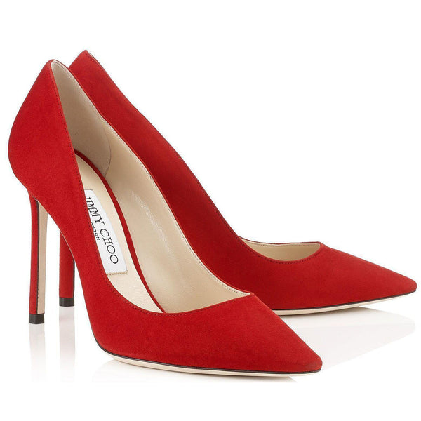 JIMMY CHOO Romy 100 Suede Pumps, Red-OZNICO