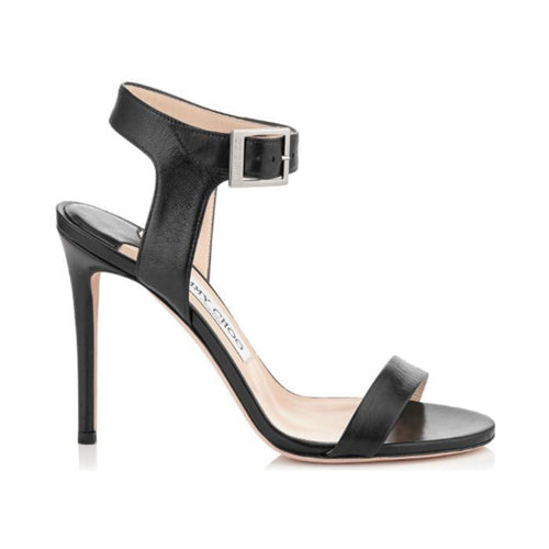 JIMMY CHOO Truce 100 Kid Leather Sandals, Black-OZNICO