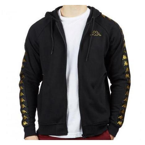 KAPPA 222 Banda Arit Slim Fit Jacket, Black/ Gold-OZNICO