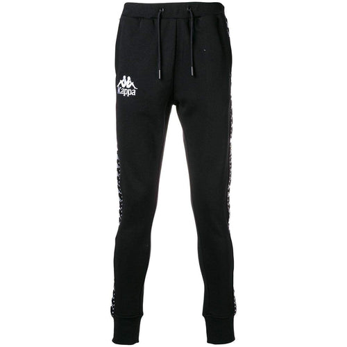 KAPPA Authentic Logo Print Track Pants, Black-OZNICO